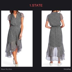 1.STATE Mosaic Ditsy Split Collar Hi Lo Dress